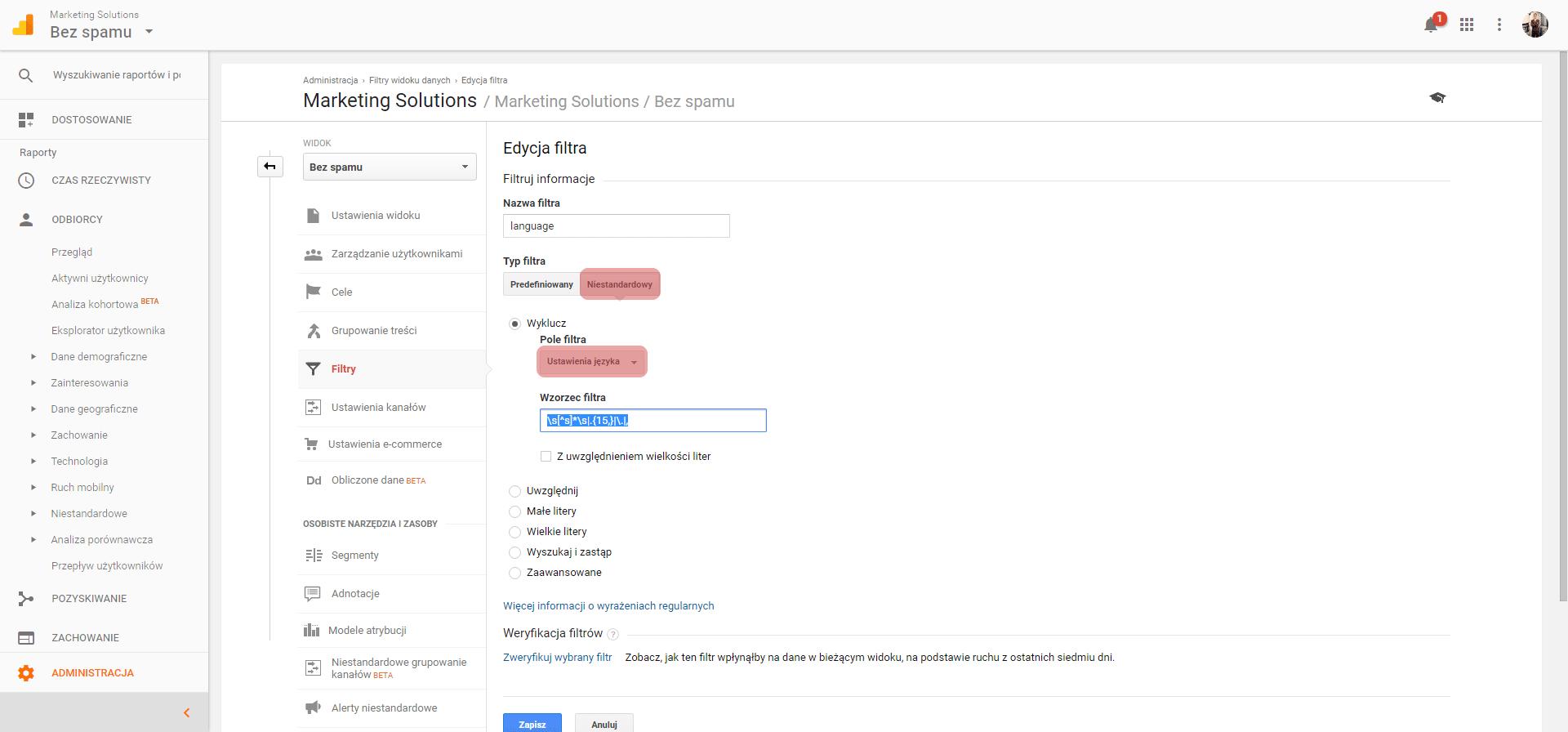 filtr języka google analitycs