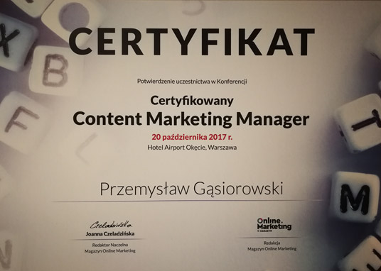 Certyfikat content marketing manager