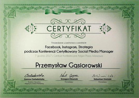 Certyfikat Facebook