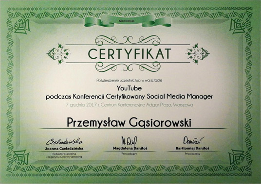 certyfikat YouTube