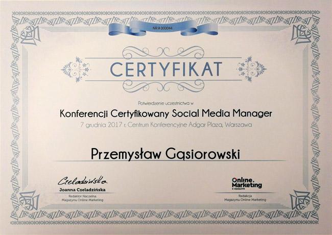 certyfikat kongres social media manager