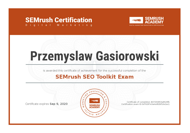 SEMrush toolkit certificate